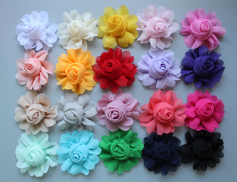try order 30pcs/lot 8CM kids Girl Beautiful rose Hair Flowers Chiffon Artificial Flower WITHOUT Clip for DIY hair accessories