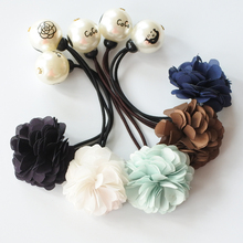 Flower With Pearls Elastic Hair Bands Girls Ponytail Holder Floral Rubber Lady Ropes Ties Women Accessories
