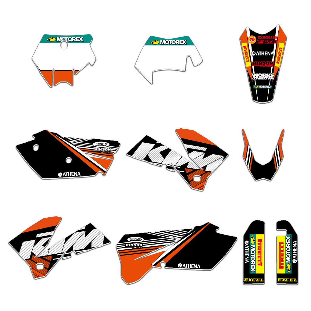 4 STYLES TEAM GRAPHICS BACKGROUNDS DECALS STICKERS FOR KTM 125 200 250 300 350 450 500 525 540 SXF MXC SX EXC XC XCW 2005-20074 STYLES TEAM GRAPHICS BACKGROUNDS DECALS STICKERS FOR KTM 125 200 250 300 350 450 500 525 540 SXF MXC SX EXC XC XCW 2005-2007