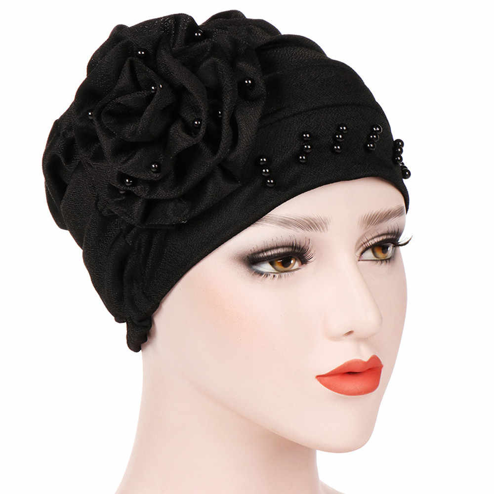 3767265962e Muslim female hats for women headscarf india flower pearl turban  chemotherapy wrap caps for ladies cancer