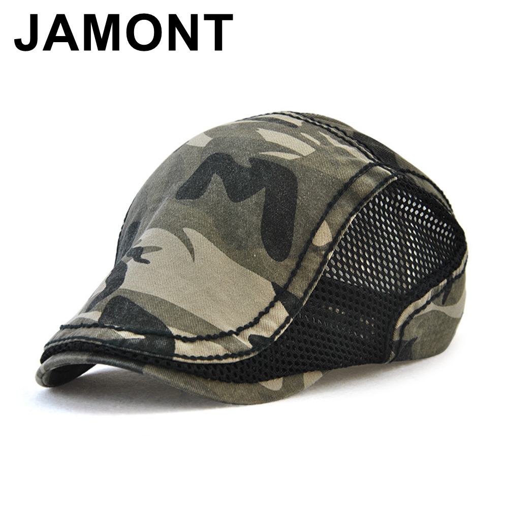 Jamont Men Women Camouflage Newsboy Beret Cap Spring Summer Breathable Mesh Golf Ivy Hats Adjustable Bonnet Cabbie Peaked Caps