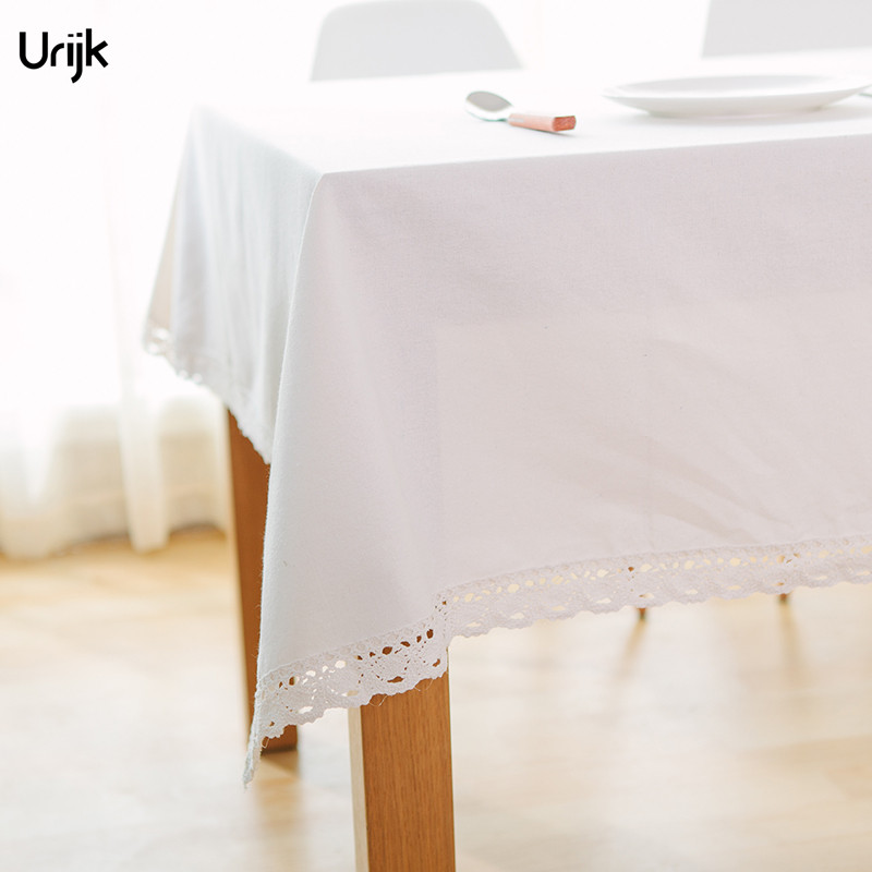 Urijk 1PC Solid Dust Proof Dinner Table Cloth Home Decoration White Lace  Edge Table Cover Cotton U0026 Linen Tablecloth Drop Ship