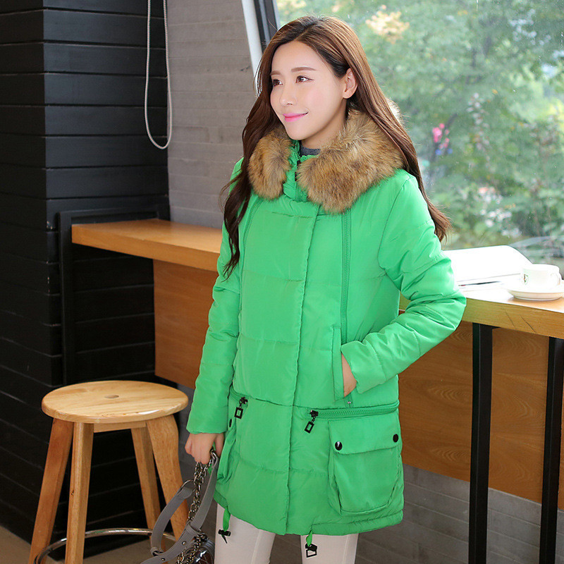 Wadded Coat Women Winter Long Down Cotton Padded Jacket Warm Fur Collar Hooded Coat Female Outerwear Slim Thick Parka TT152 winter women long hooded faux fur collar cotton coat thick wadded jacket padded female parkas outerwear cotton coats pw0999