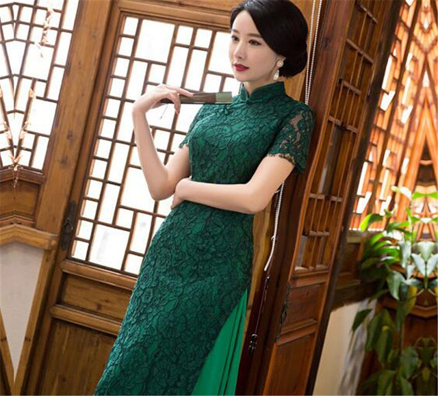 Chinese traditional dress lace cheongsam qipao womens short sleeve ...
