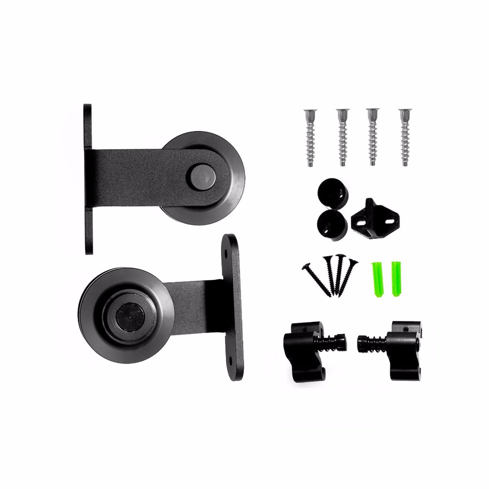 LWZH Heavy Duty Sliding Barn Door Hardware Kit Black T- Shaped Roller For Closet Sliding Door