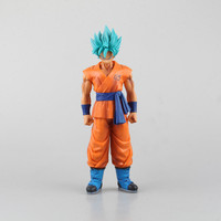 1 Pcs Japanese Anime Dragon Ball Z Super Saiyan Large Size 27 CM Son Goku Blue Hair PVC Action Figure Model For Kid High Quality