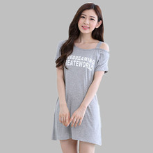 New 2016 Nightgown Female Sleepwear Dress Summer Casual Tracksuits Ladies Nightdress Sleepshirt Dressing Gowns For Women S-2XL