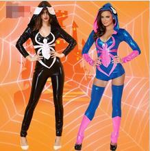 free shipping Spider Women Costume Zentai Suit Sexy Costumes Women Halloween 2016 Girl Hoodie Venom Spiderman Jumpsuit
