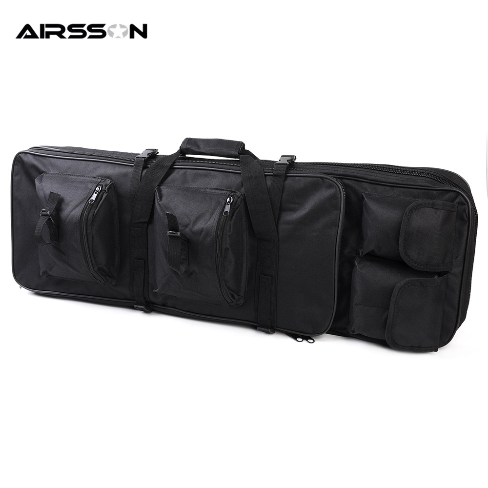 Airsson Outdoor Hunting 85cm Dual Rifle Bag Magazine Pouch Padded Shoulder Strap Waterproof Protecting Military Gun Carrier Case 47 folding fishing rod bag tactical duel rifle gun carry bag with shoulder strap outdoor fishing hunting gear accessory bag