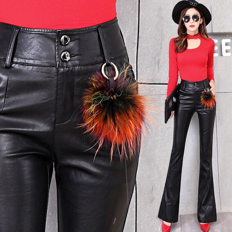 2018 nouveau Style femmes petit Flare pantalons en cuir synthétique polyuréthane hiver velours Faux cuir Skinny taille haute pantalon pour les femmes, livraison gratuite par CPAM