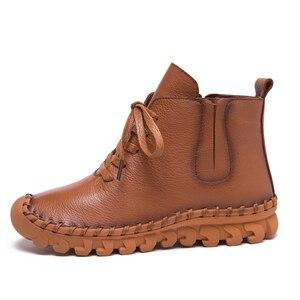 Image 2 - עור אמיתי נעלי נשים מגפי 2020 סתיו חורף אופנה בעבודת יד קרסול מגפי חם רך חיצוני מזדמן שטוח נעלי אישה