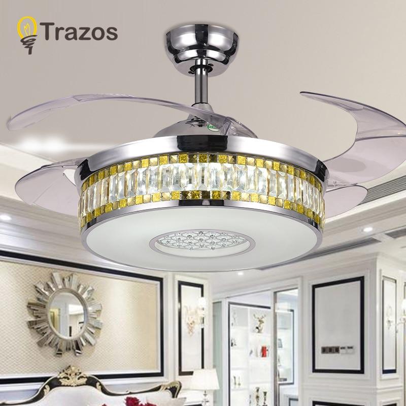 Gut Moderne LED Luxus 42 Zoll Unsichtbare Versenkbare Kristall Decke Fans Mit  Lichter Schlafzimmer Folding Decke Fan