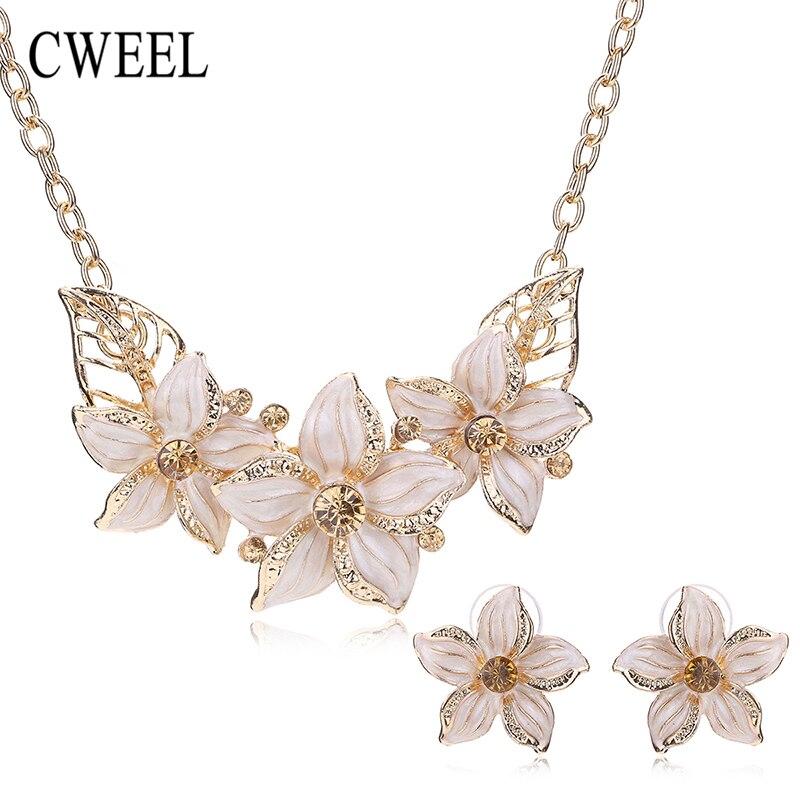 Perlas africanas Sistemas de La Joyería Del Esmalte Colgante de Collar de Flores