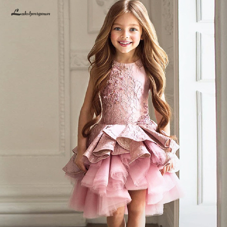 Lakshmigown Lovely Pageant   Dresses   for   Girls   Mini Birthday Party Gown Lace Ruffles Pink   Flower     Girl     Dresses   2019 Vestido daminha
