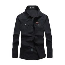 데님 셔츠 남성 캐미 사 Masculina 군사 셔츠 육군 녹색 남성 캐주얼 블랙 청바지 셔츠 남성 플러스 크기 M 3XL 4XL 5XL 6XL 2018