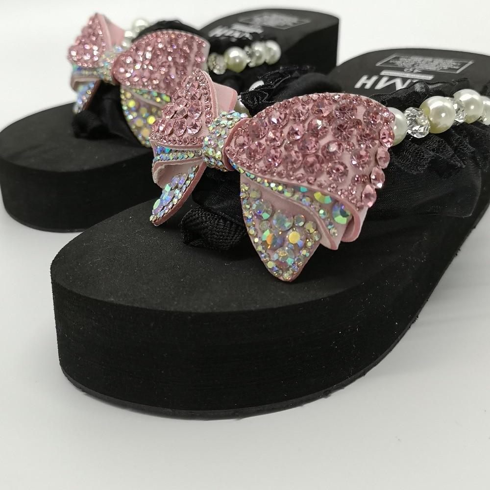 2019, zapatillas de playa de verano para mujer, sandalias de flores con perlas brillantes, chanclas para el hogar, zapatos casuales, envío gratis - 6