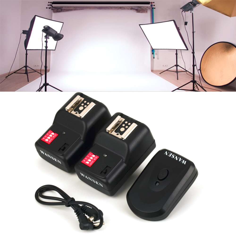 High Quality Wireless 4 Channels Practical Flash Trigger Transmitter With 2 Receivers Set For Nikon For Canon PT-16GY wansen pt 04gy universal 1 to 3 3 receivers wireless flash trigger for nikon canon black