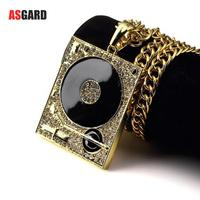 ASGARD Fashion DJ Phonograph Big Pendant Necklace Men Jewelry Hiphop Chain Music Hip Hop Rock Rap