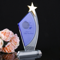 H&D Crystal Sail Star Shape Trophy Engraved Logo Or Words Glass Sports Souvenirs Trophy League Cup Competition Award Home Decor