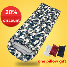 Sleeping bag Eiderdown cotton envelope style hooded outdoor camping multicolors for Spring Autumn Winter