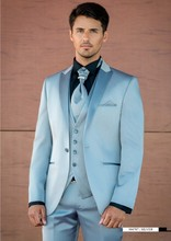 Latest Coat Pant Designs Light Blue Satin Prom Men Suit Slim Fit 3 Piece Tuxedo Groom