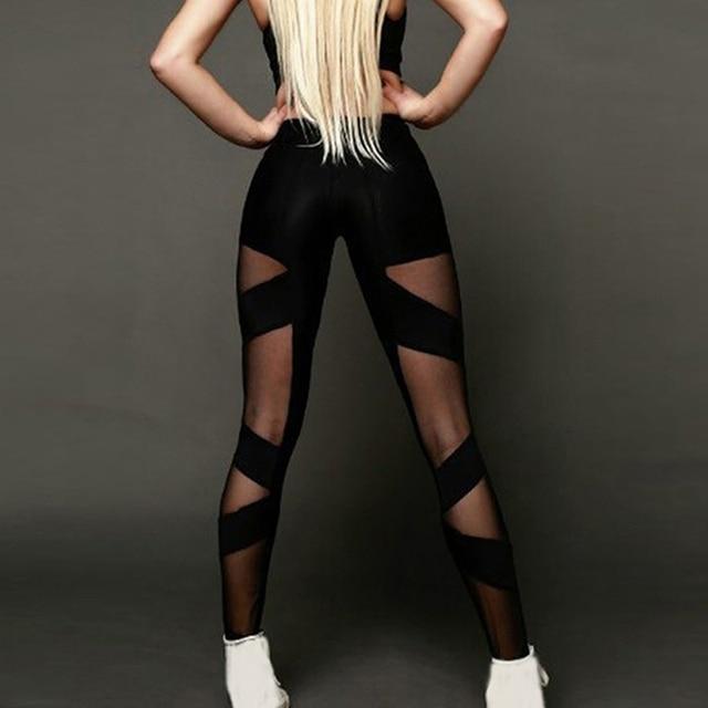 Ladies High Waist Mesh Women Leggings Fitness Breathable Push Up Leggings Women Quick Dry Plus Size Casual Leggins HO938586 5