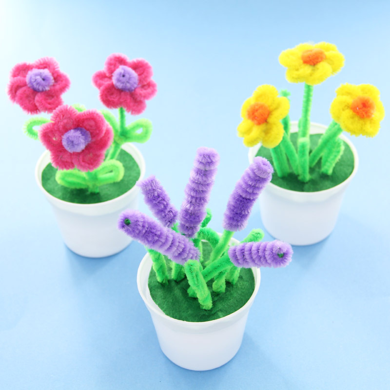 Hand Twisted Plush Stick Flower Pots Kindergarten Kids DIY Flower Craft Toys Puzzle Parent-child Handmade Kit