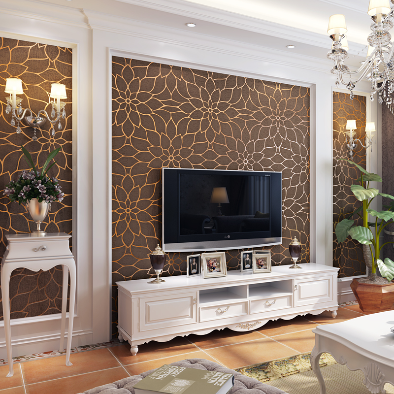 living tv modern pattern flower background 3d wall bedroom stereo non wallpapers floral paper flocking decor walls woven crafts lotus