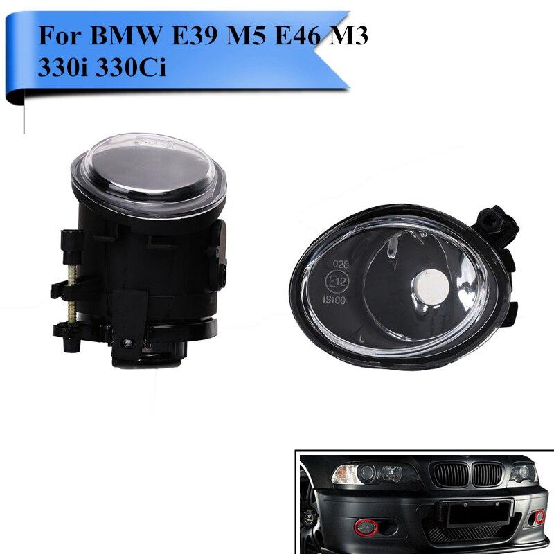 Left & Right Car Front Bumper Foglight Fog Lamp Housing For BMW E46 M3 & ZHP M-Sport E39 M5 330i 330Ci 2001-2006 #PDK622