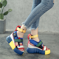 SWYIVY Shoes Women Sandals Platform 2019 Female Blue Shoes Casual Summer Sandals Wedge Chunky High Heel Sandal Rome Ankle Belt