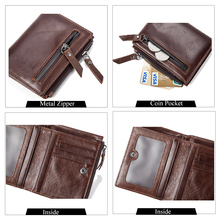 Men's Genuine Leather Wallet With Coin Pocket Zipper