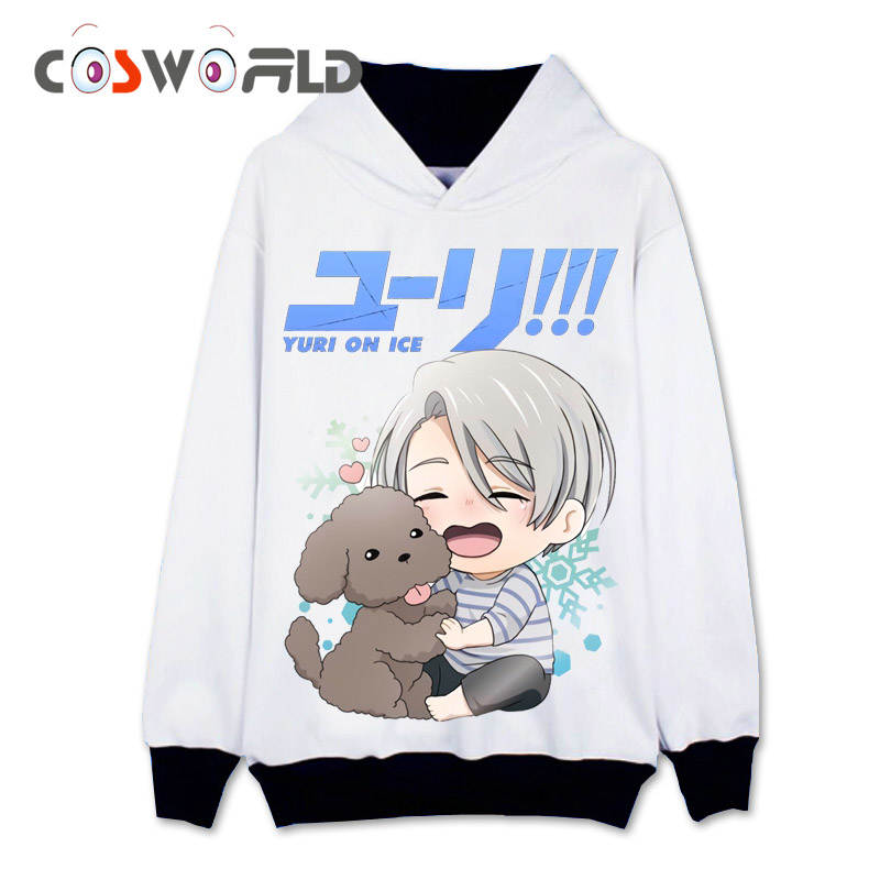 Coshome Yuri On Ice Yuri Victor Katsuki Cosplay Hoddies Costumes Men Women Jacket Coat Sweatshirt Anime Casual Sportswear Tops