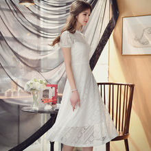 dabuwawa summer dresses 2017 short sleeved big sizes Lady stand collar vintage casual lace long dress for women pink doll