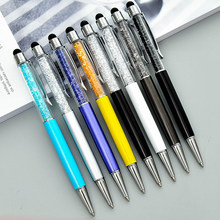 23 Colors Crystal Ballpoint Pen Fashion Creative Stylus Touch Pen for Writing Stationery Office & School Pen Ballpen ink Black(China)