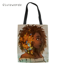 ELVISWORDS Casual Women;s Handbags Black Afro Girls Pattern Canvas Totes Bag African Ladies Keep Calm Shoulder Bags For Female