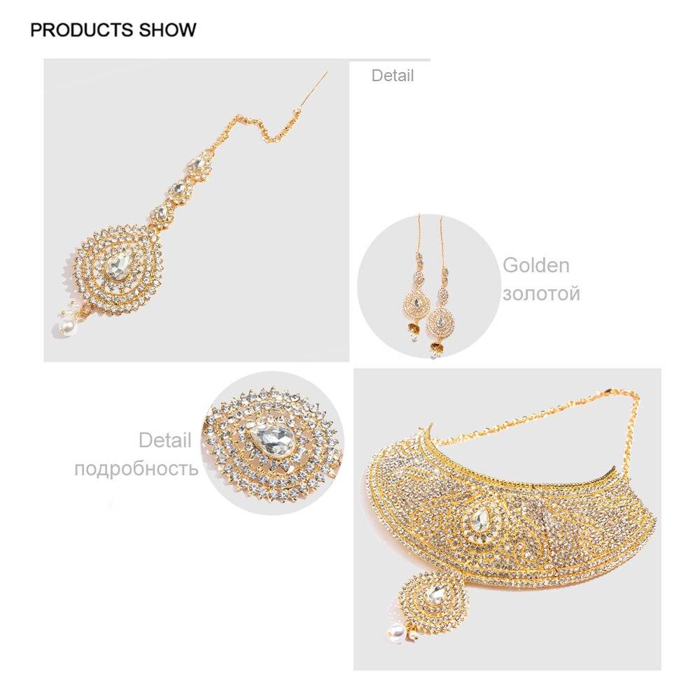 Juste sentir Dubai cristal or couleur bijoux ensembles mariage africain mariée Imitation perle goutte d'eau nouveau collier boucle d'oreille coiffure - 5