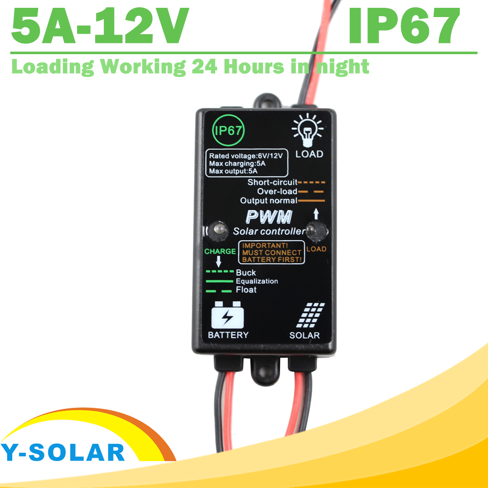 Waterproof Solar Charge and Discharge Controller 5A 12V Load Working for 24 Hours 3a 6v 12v mini solar charge and discharge controller waterproof load working 24 hours