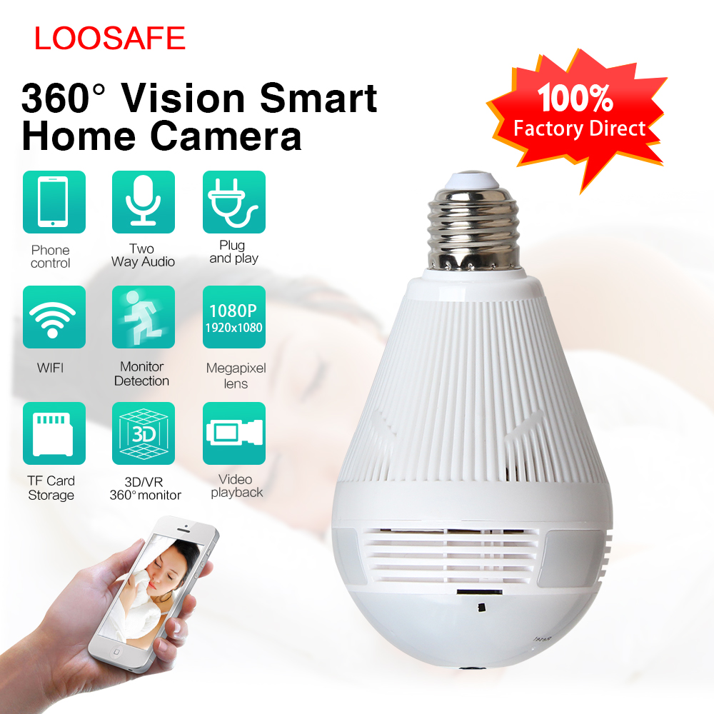 LOOSAFE 960 Wireless Panoramic Lamp Bulb Wifi Home Security Camera CCTV Fisheye 360 Degree Camera HD WIFI Network Remote Monitor