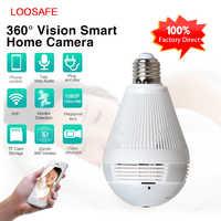 Loosafe 960 lâmpada panorâmica sem fio wi fi câmera de segurança em casa cctv fisheye 360 graus câmera hd wifi rede monitor remoto