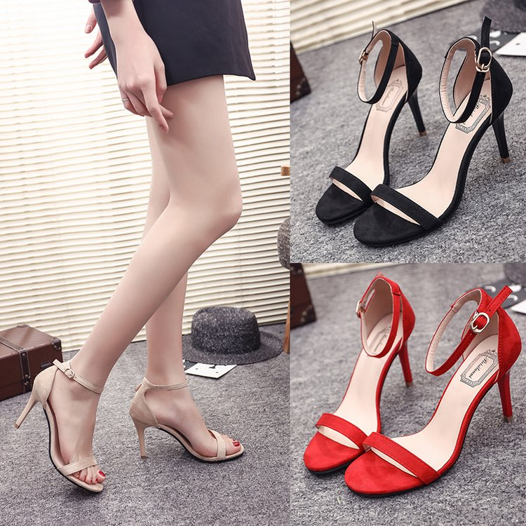 ORATEE Fashion Ankle Strap Women Casual Sandals Open Toe Summer High Heel Shoes Buckle Ladies Office Innrech Market.com