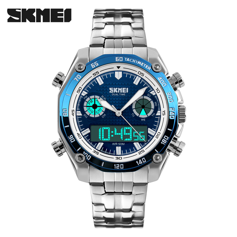 SKMEI Men Wristwatch Fashion Sport Digital Quartz Male Watches Stainless Steel Multiple Time Zone Relogio Masculino