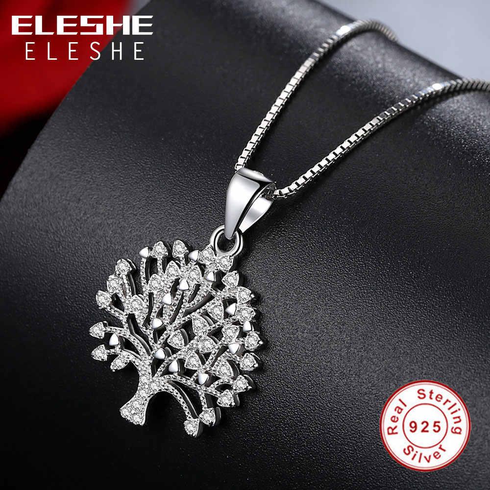 ELESHE VINTAGE 925 Sterling Silver Family Tree of Life คริสตัลสร้อยคอจี้สำหรับสร้อยคอยาวผู้หญิงแฟชั่นเครื่องประดับ