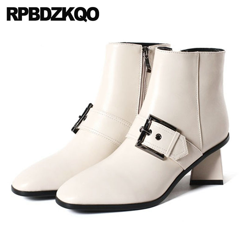 Fall Big Size Square Toe Strange Shoes 10 Belts Women Ankle Boots Medium Heel Chunky Beige Booties Short High Genuine Leather stud biker genuine leather fringe ankle rivet women motorcycle punk rock boots belts fall chunky shoes black high heel big brand
