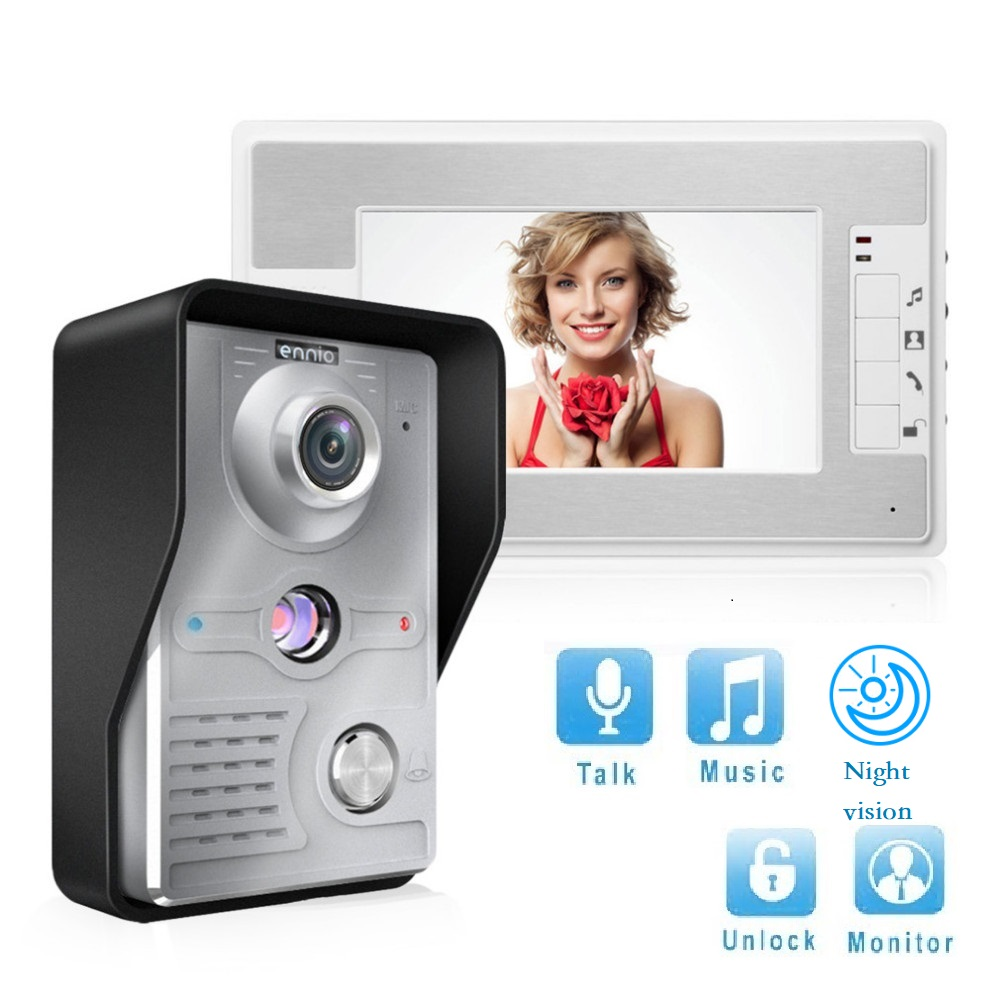 Household 7 Inch TFT LCD Screen 5M Wired Video Intercom Doorbell Waterproof Night Vision Infrared Door Bell control unlockingHousehold 7 Inch TFT LCD Screen 5M Wired Video Intercom Doorbell Waterproof Night Vision Infrared Door Bell control unlocking