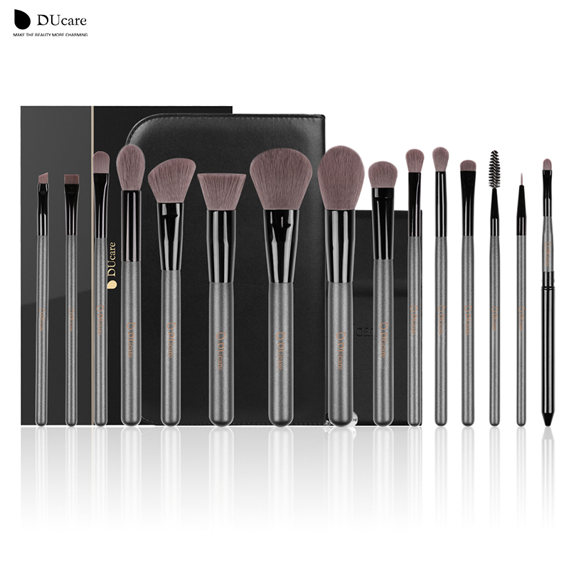 DUcare 15Pcs Makeup Brushes Sets Professional brush set with Portable Mirror high quality cosmetic make up brush set with bag 18 pieces professional high quality makeup brush set cosmetic brushes make up brush kit free shipping wholesale