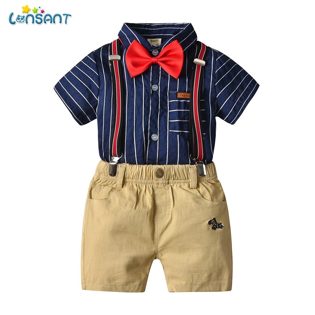 207ddcaff Cheap LONSANT verano niños ropa conjunto bebé niño Caballero de manga corta  mameluco camisa a rayas