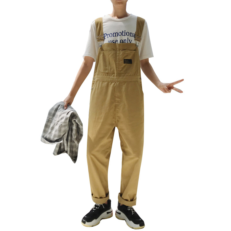 Men's Straight Overalls Pants Fashion Casual Bib Jumpsuits Trousers Male High Streetwear Hip Hop Harem Pant-in Overalls from Men's Clothing