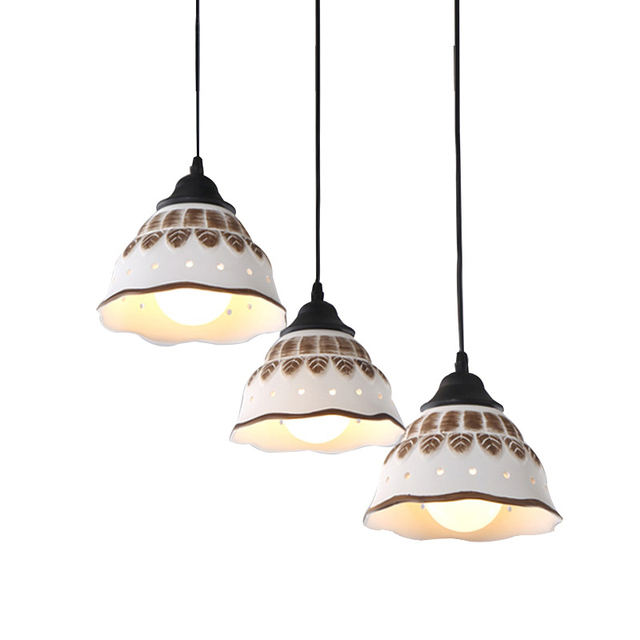 European Vintage Ceramic Pendant Lamp Antique Retro Loft Hanging Light E27 Indoor Restaurant Bedroom Lighting Fixtures Pl537