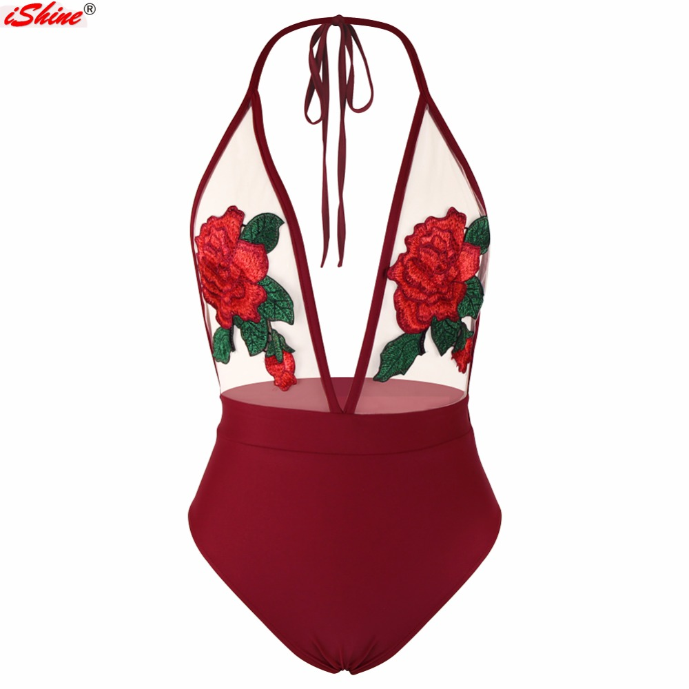 iShine Swimwear Women Sexy One Piece Swimsuit Halter Mesh Perspective Rose Embroidery Patchwork Backless Swimwear Bathing Suit fashionable women s sports bra mesh perspective tank top black leggings three piece suit