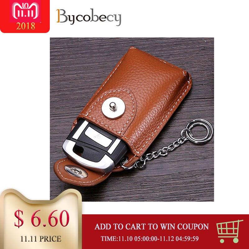 BYCOBECY Real Genuine Leather Car Key Holder Mini Key Wallet Men Key Housekeeper все цены